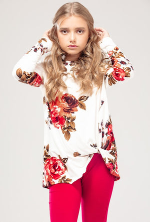 Floral Print Front Knot Long Sleeve Top