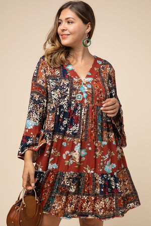 Patchwork Bell Sleeve Dress