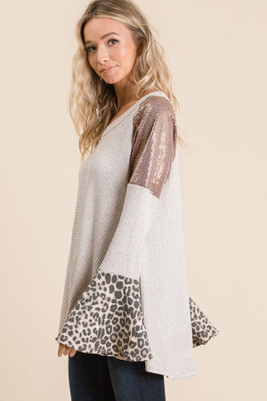 Leopard & Sequin Bell Sleeve Waffle Top