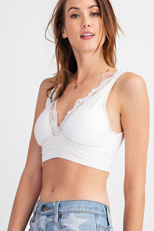 V Neck Bralette with Lace Detail in White
