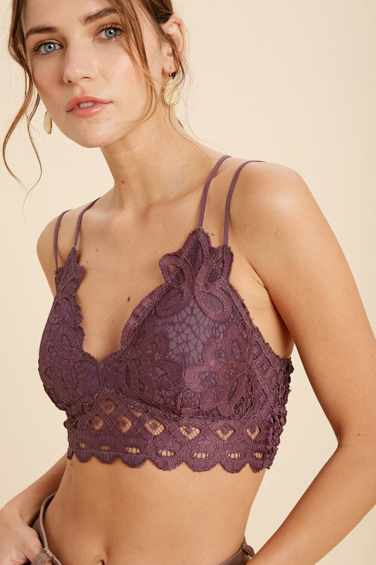 Scalloped Lace Bralette in Dark Purple