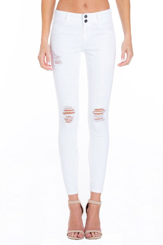 3933f9b3c7a Distressed White Skinny Jean - The Rustic Rack Boutique