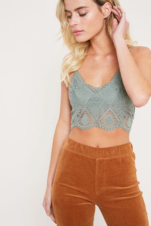 Lace Bralette with Smocked Back
