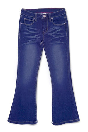 Whisker Wash Flare Jeans in Dark Denim