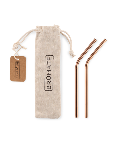 BruMate Stainless Steel Reusable Wine Straws - Rose Gold