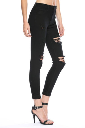 Black Cuffed Distressed Skinny Jeans