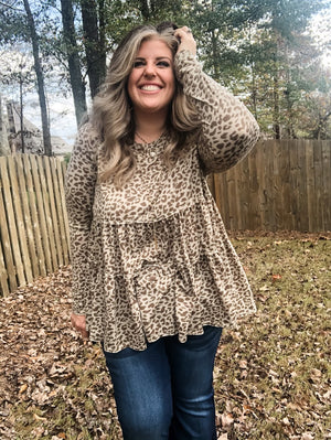 Leopard Tiered Babydoll Top
