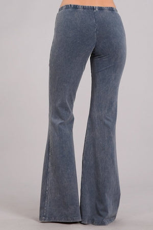 Mineral Wash Bell Bottom Pants in Blue Grey