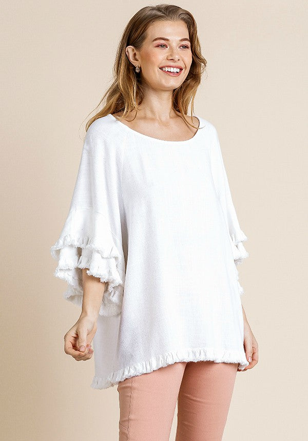 Frayed Hem Top with Tiered Sleeves in White