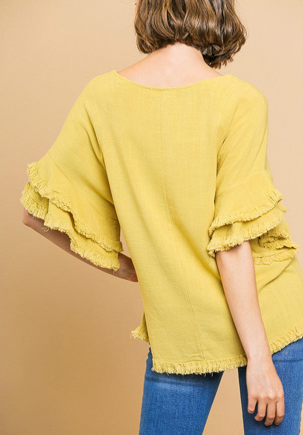 Frayed Hem Top with Tiered Sleeves in Mustard