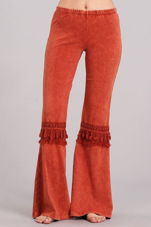 Fringed Crochet Mineral Wash Bell Bottom Pants in Rust