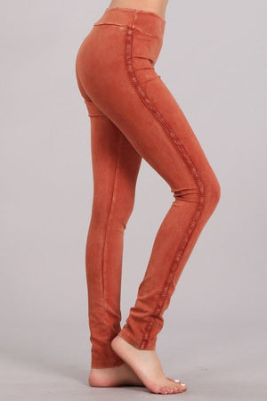 Mineral Wash Leggings with Lace Trim in Rust