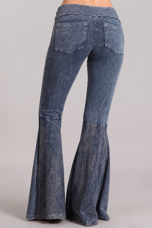 Washed Bell Bottom Flare Pants with Pockets in Blue Grey