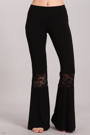 Bell Bottom Pants with Lace Detail in Black