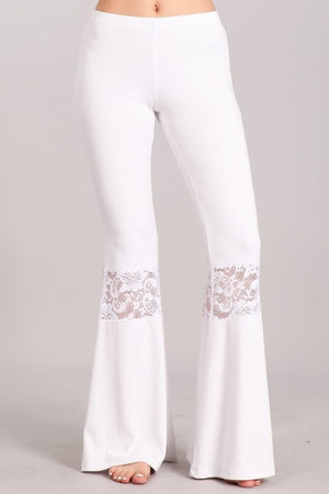 Bell Bottom Pants with Lace Detail in White