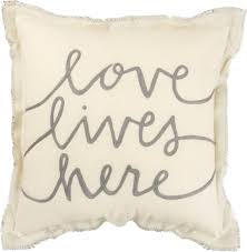 Love Lives Here Embroidered Pillow