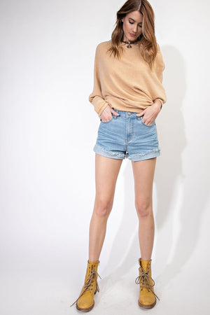 Fray Hem Cuffed Denim Shorts in Light Wash