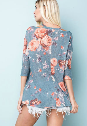 Floral Print Top with Cut Out Neckline