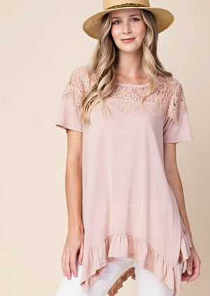 Ruffled Asymmetrical Hem Top with Lace Detail