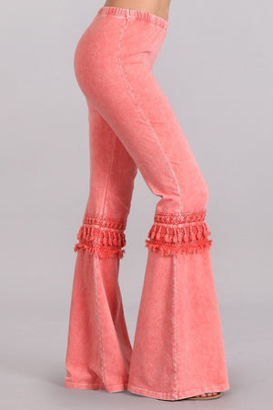 Fringed Crochet Mineral Wash Bell Bottom Pants in Peach