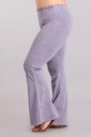 Mineral Wash Bell Bottom Pants in Lilac