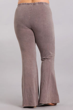 Mineral Wash Bell Bottom Pants in Desert Taupe - Curvy