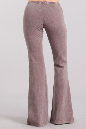 Washed Bell Bottom Flare Pants in Desert Taupe