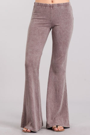 Mineral Wash Bell Bottom Pants in Desert Taupe