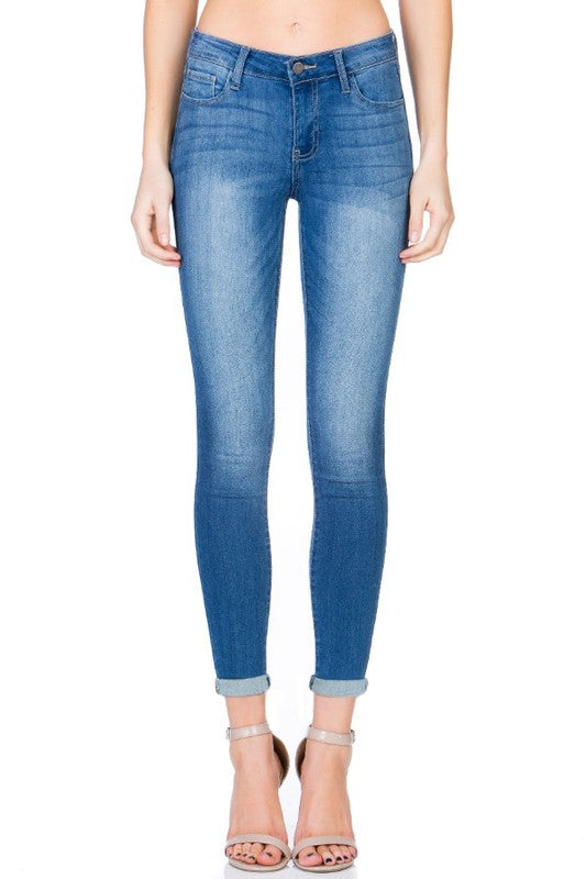 Basic Rayon Ankle Skinny Jeans