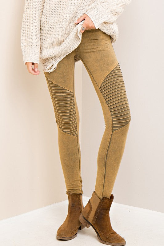 moto leggings olive. acid wash moto leggings in olive