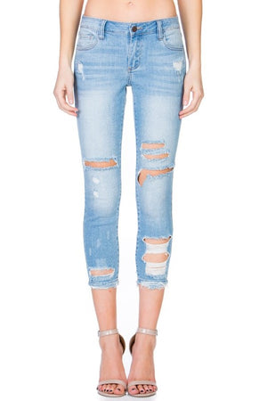 Destroyed Ankle Cutout Skinny Jeans
