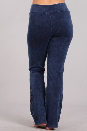 Mineral Washed Slim Bootcut Pants in Electric Blue
