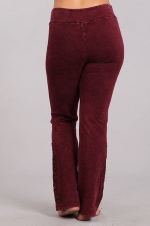Mineral Washed Slim Bootcut Pants in Wine