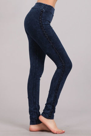 Mineral Wash Leggings with Lace Trim in Blue