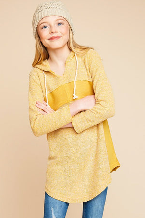 Ribbed Knit Hooded Tunic Pullover