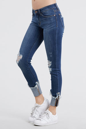 Distressed Cuffed Ankle Skinny Jean