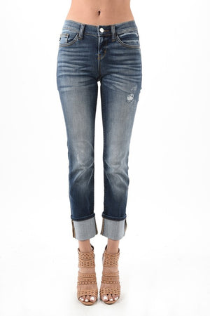 Dark Washed Cuffed Jeans- Curvy