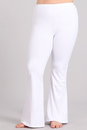 Mineral Wash Bell Bottom Pants with Pockets in White