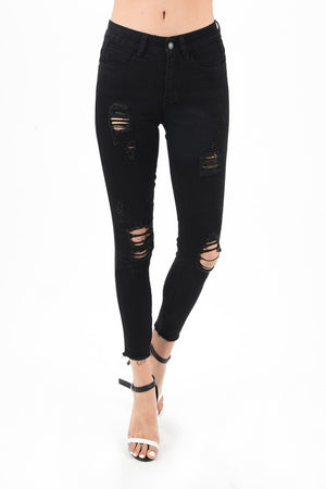 Black Distressed Raw Hem Skinny Jean