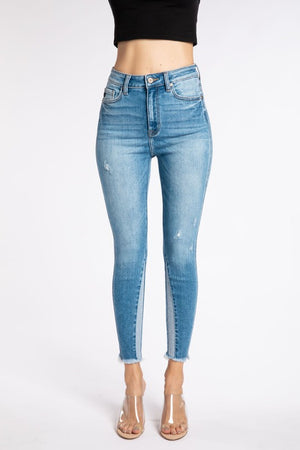 Color Block Skinny Jean with Frayed Hem