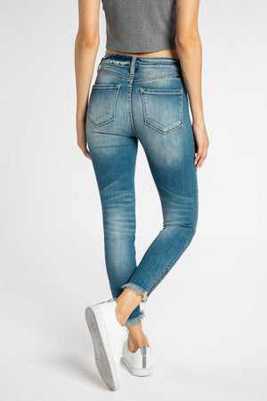 Distressed Moto Jean with Side Zipper