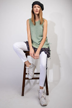 afb64ad4b0 Sleeveless Sweater Knit Tank Top in Sage - The Rustic Rack Boutique