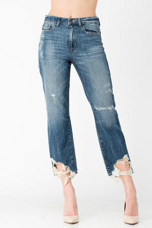 Destructed High Rise Relaxed Fit Jean