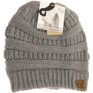 Criss Cross Ponytail Beanie in Light Grey