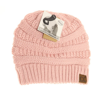 Criss Cross Ponytail Beanie in Rose