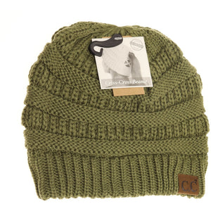Criss Cross Ponytail Beanie in Olive