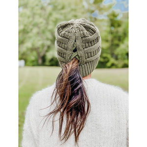 Criss Cross Ponytail Beanie in Dark Grey