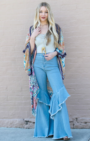 High Waist Ruffle Denim Pants in Light Wash