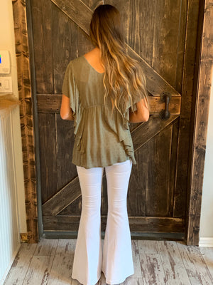 Textured Top with Ruffle Sleeves