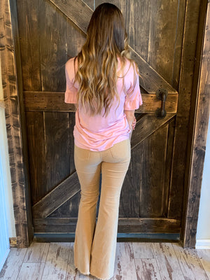 Caged Neck Knit Top in Blush